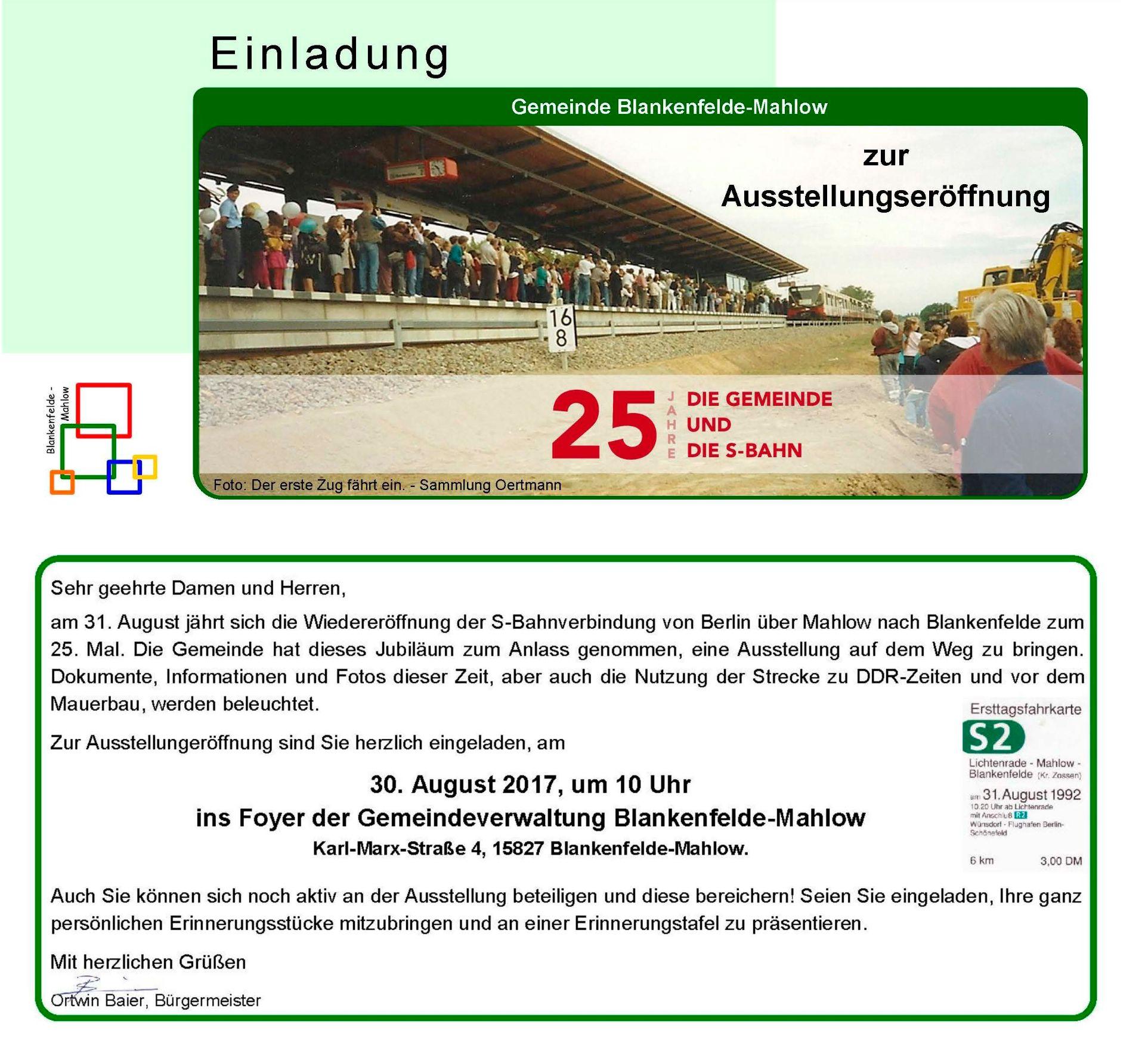 """ausstellungseröffnung """"25 jahre – die gemeinde und die s-bahn"""" im, Einladungen"""